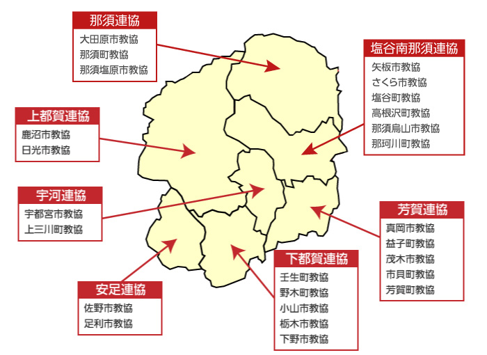 県内に広がる25の単位教協 図